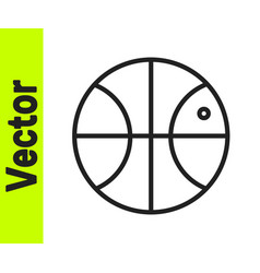 black line basketball ball icon isolated on white vector image