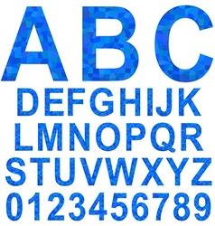 Blue mosaic font set vector