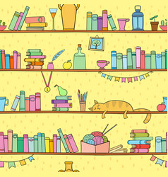 Books cat and other things on shelves vector