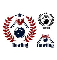Bowling emblems and symbols vector image