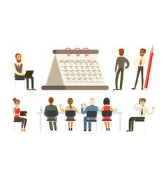 business workflow set employees working in office vector image