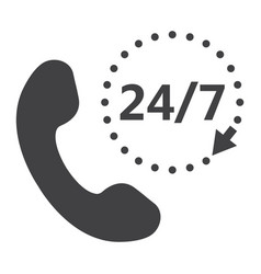 Call 24 7 solid icon support service and website vector