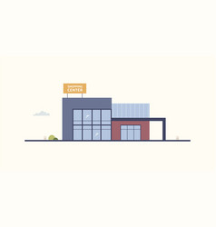 Cartoon building of shopping center or mall with vector