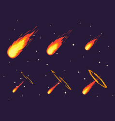 cartoon comet effect stages set vector image