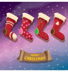Cartoon cute christmas stocking or socks vector