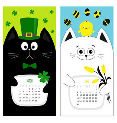 Cat calendar 2017 cute funny cartoon character vector