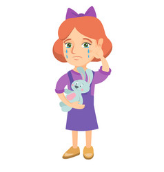 caucasian girl crying and holding toy vector image
