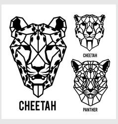 Cheetah and panter - animal heads icons vector