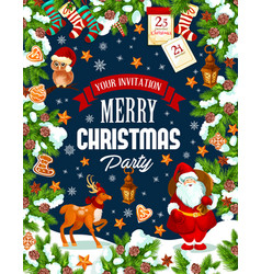 Christmas party poster template of winter holidays vector