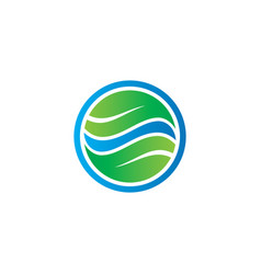 circle leaf business eco logo vector image