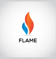 clean red blue fire flame logo sign symbol icon vector image