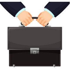 Closeup of budget leather briefcase held tightly vector
