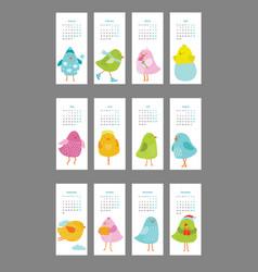 Colored birds calendar for 12 months vector
