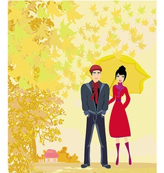 couple walking in autumn day vector image