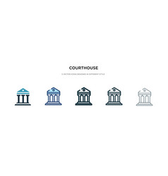 Courthouse icon in different style two colored vector