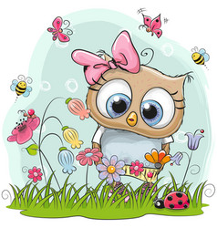 Cute cartoon owl on a meadow vector