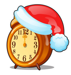 cute vintage alarm clock with a cap santa vector image