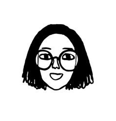 Doodle sketch girl vector