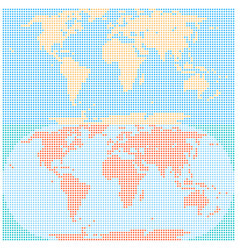 Dotted world map in flat style created by round vector