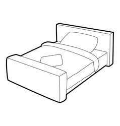 Double bed icon isometric 3d style vector image