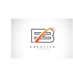 eb e b swoosh letter logo design with modern vector image