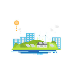 eco friendly modern city alternative energy vector image