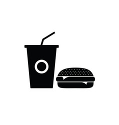 fast food icon in black vector image