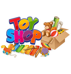 Font design for word toy shop with many toys in vector