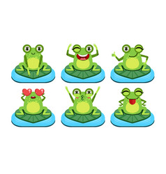 funny frog characters set cute amphibian in vector image