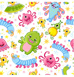 Funny pattern with aliens seamless vector