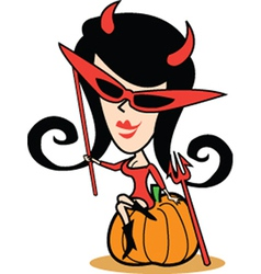 Girl in halloween costume vector