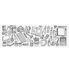 hand drawn artistic equipment doodle set vector image