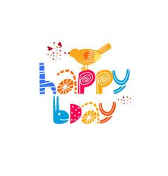 Happy birthday typography phrase flat vector