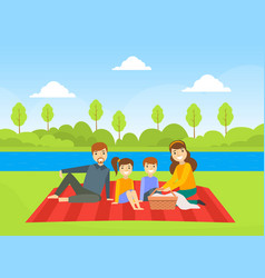 happy family having picnic outdoors dad mom son vector image