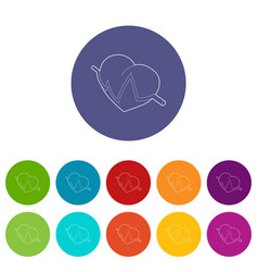 Heart beat pulse icon outline style vector