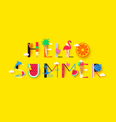 hello summer background with signs and symbols vector image