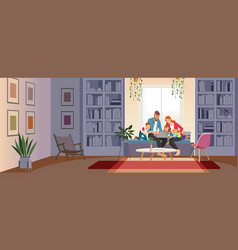 home schooling concept family at home with tutor vector image