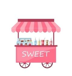 Icon kiosk with cakes milkshakes vector