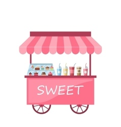 Icon of Kiosk with Cakes Milkshakes vector image