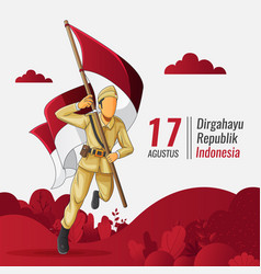 Indonesian independence greeting card vector