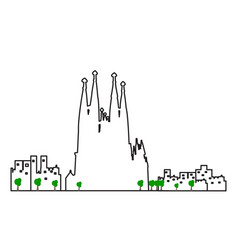Isolated barcelona cityscape vector