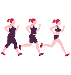 jogging weight loss woman overweight fat lady and vector image