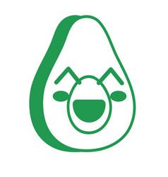 Kawaii cute happy avocado fruit vector