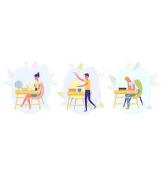 Kids sit at desks in classroom doing activities vector