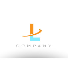 L orange blue logo icon alphabet design vector