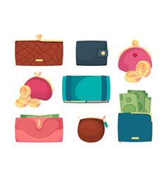 leather wallets business treasures dollars golden vector image