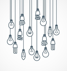 Light bulb hanging on cords - lamps vector
