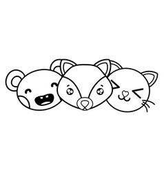 Line happy cute animals head friends vector