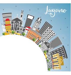 Lugano switzerland skyline with gray buildings vector