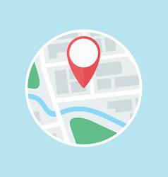Map with gps label flat icon vector